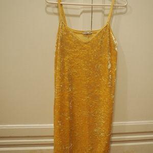 Zara yellow velvet dress